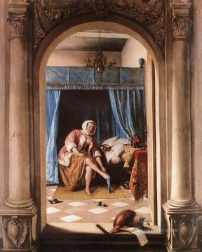 oil Works - The Morning Toilet Dutch genre painter Jan Steen